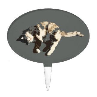 parte posterior posterized del gris del gato de ca decoraciones de tartas