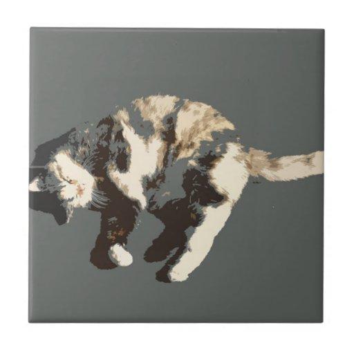 parte posterior posterized del gris del gato de ca azulejo ceramica