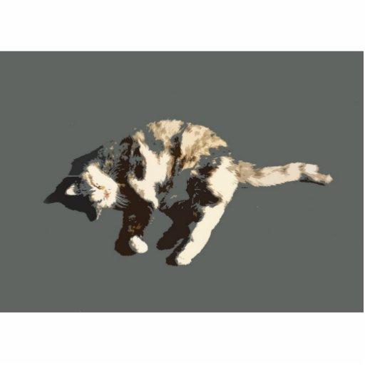 parte posterior posterized del gris del gato de ca escultura fotográfica