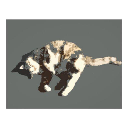 """parte posterior posterized del gris del gato de ca folleto 8.5"""" x 11"""""""