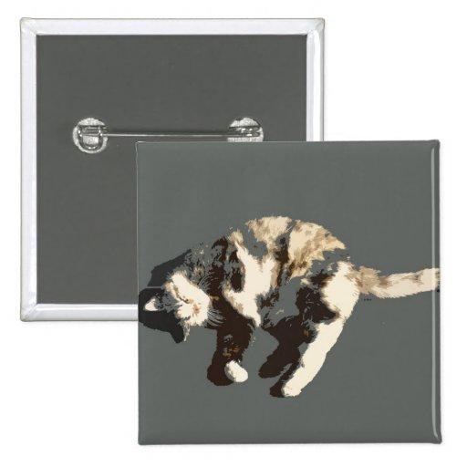 parte posterior posterized del gris del gato de ca pin cuadrada 5 cm