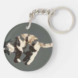 parte posterior posterized del gris del gato de llavero redondo acrílico a doble cara