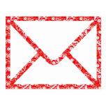 parte posterior roja del sobre floral postal