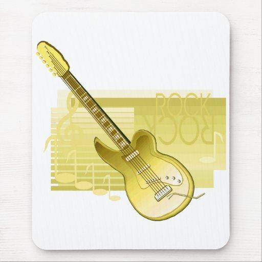 parte posterior yellow.png de la roca de la guitar alfombrillas de ratones