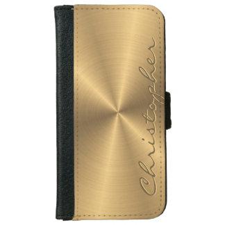 Parte radial metálica personalizada del oro del funda cartera para iPhone 6