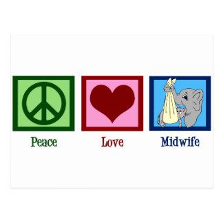 Partera del amor de la paz tarjetas postales