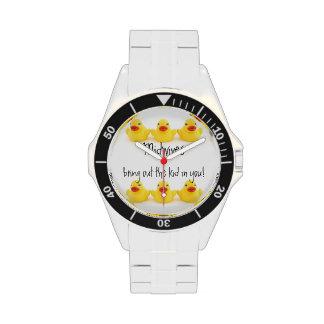 Parteras y patos de goma amarillos reloj de mano