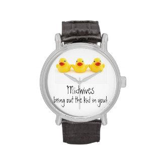 Parteras y patos de goma amarillos relojes de pulsera