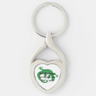 Parteras y torsión del lagarto verde llavero plateado en forma de corazón