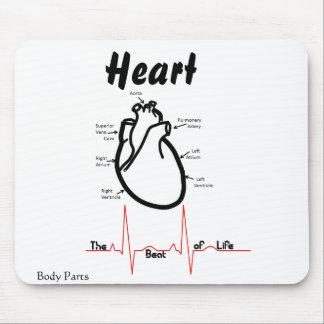 Partes del cuerpo -- Corazón humano Alfombrillas De Raton