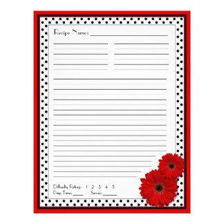 """Partes movibles rojos de la receta de la carpeta d folleto 8.5"""" x 11"""""""