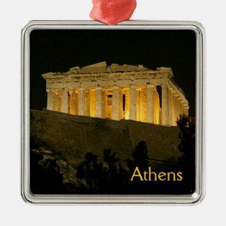 Parthenon Adorno Navideño Cuadrado De Metal