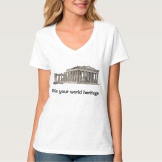 Parthenon antes después del patrimonio mundial playera