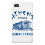 Parthenon - Atenas - Griego (azul) iPhone 4 Carcasas