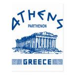 Parthenon - Atenas - Griego (azul) Postal