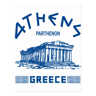 Parthenon - Atenas - Griego (azul) Tarjeta Postal