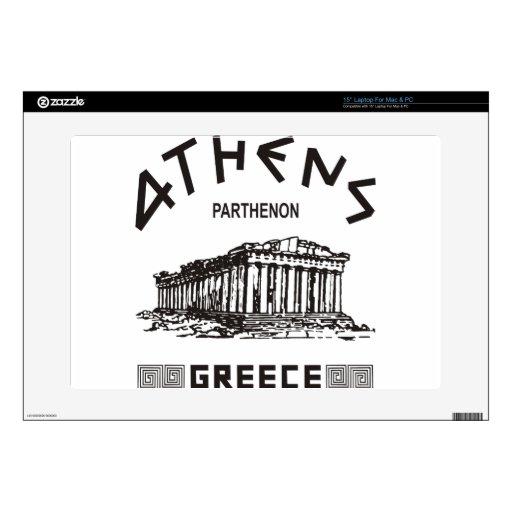 Parthenon - Atenas - Griego (negro) 38,1cm Portátil Calcomanías