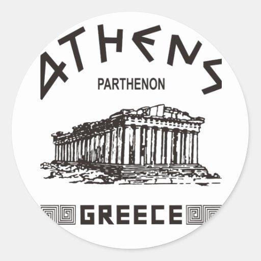 Parthenon - Atenas - Griego (negro) Pegatina Redonda
