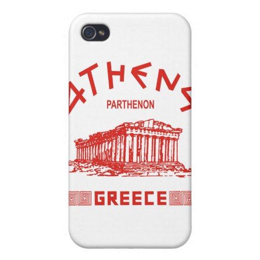 Parthenon - Atenas - Griego (rojo) iPhone 4 Cárcasas
