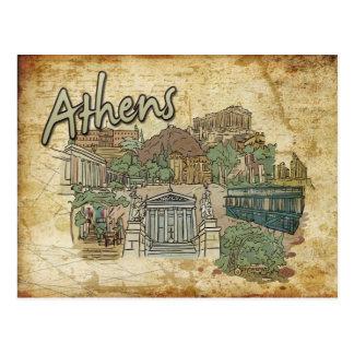 Parthenon Athens Greece Monument Travel Postcard