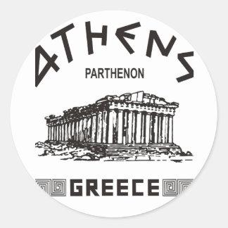 Parthenon - Athens - Greek (black) Classic Round Sticker
