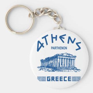 Parthenon - Athens - Greek (blue) Basic Round Button Keychain