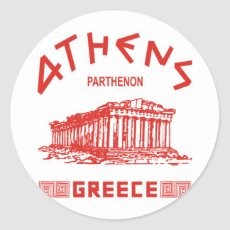 Parthenon - Athens - Greek (red) Classic Round Sticker