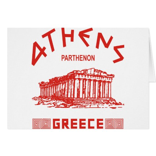 Parthenon - Athens - Greek (red) Greeting Cards