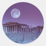 Parthenon crepuscular pegatina redonda