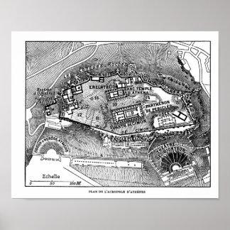 Parthenon en el mapa de Atenas Impresiones