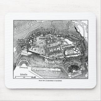 Parthenon en el mapa de Atenas Alfombrilla De Ratón