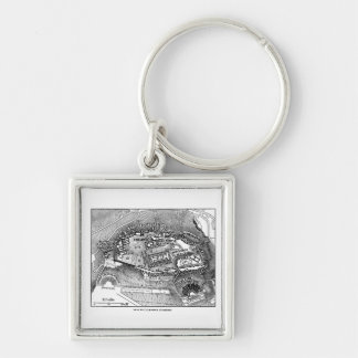 Parthenon in Athens Map Silver-Colored Square Keychain