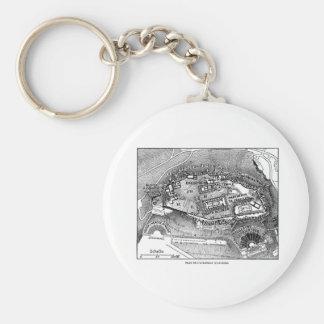 Parthenon in Athens Map Basic Round Button Keychain