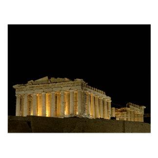 Parthenon por la postal de la noche
