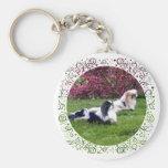 Parti-Color Pekingese Dogs Keychain