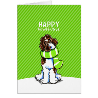 Parti Labradoodle Christmas Happy Howl-i-days Card