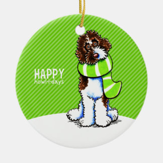 Parti Labradoodle Christmas Happy Howl-i-days Christmas Ornament