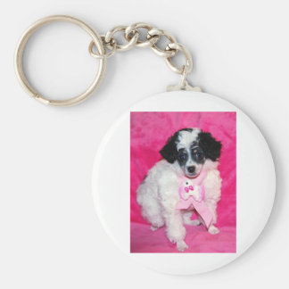 Parti Poodle Puppy in Pink Keychain
