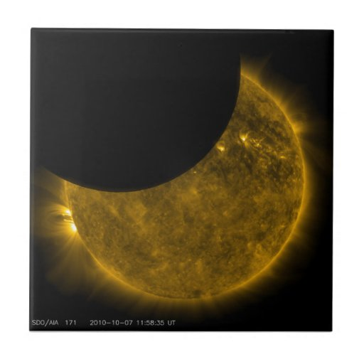 Partial Eclipse of the Sun Small Square Tile