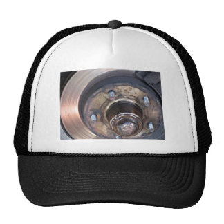 Partial vehicle brake disc and bolts hats