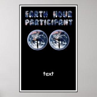 Participante de la hora de la tierra (w/Clocks) Póster