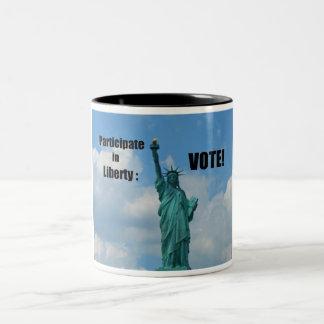 Participate in Liberty: VOTE! Two-Tone Coffee Mug