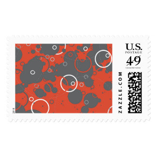 Particle Collider - Red Abstract Postage