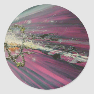 """particle"" original oil painting classic round sticker"