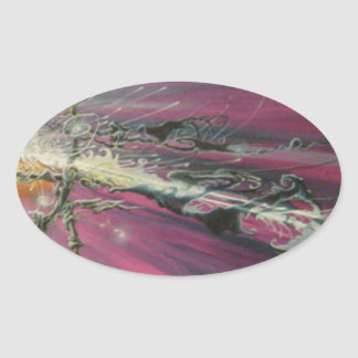 """""""particle"""" original oil painting oval sticker"""