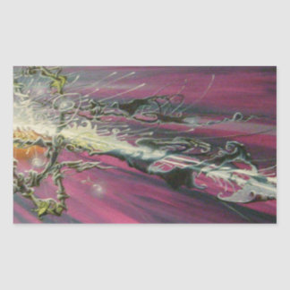 """particle"" original oil painting rectangular sticker"