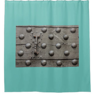 PARTICULAR OF THE DOOR OF A CASTLE SHOWER CURTAIN