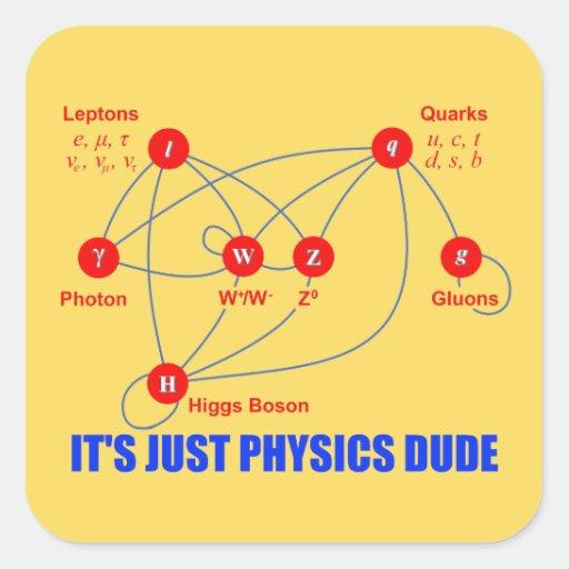 Partículas elementales de los Quarks del bosón de Calcomania Cuadrada Personalizada