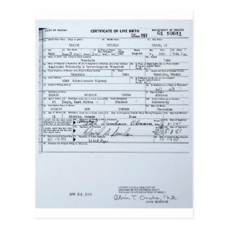 Partida de nacimiento original certificada de Bara Postales