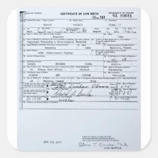 Partida de nacimiento original certificada de pegatina cuadrada